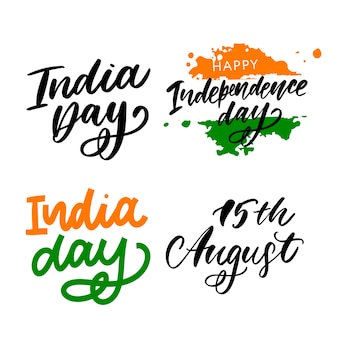 Happy dag van de onafhankelijkheid india belettering set