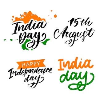 Happy dag van de onafhankelijkheid india ingesteld belettering
