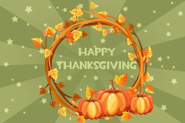 Happy day thanksgiving-kaarten, vectorillustratie oranje krans met pompoen