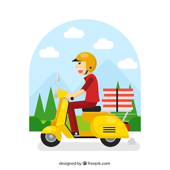 Happy delivery man op scooter