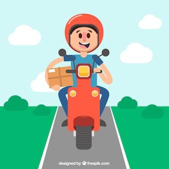 Happy deliveryman rijden scooter