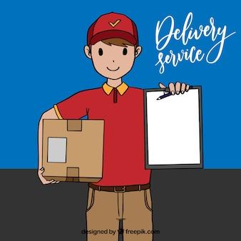 Happy deliveryyman met handgetekende stijl