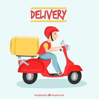 Happy deliveryyman met leuke stijl