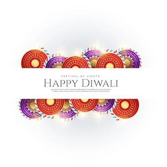 Happy diwali achtergrond met festival crackers