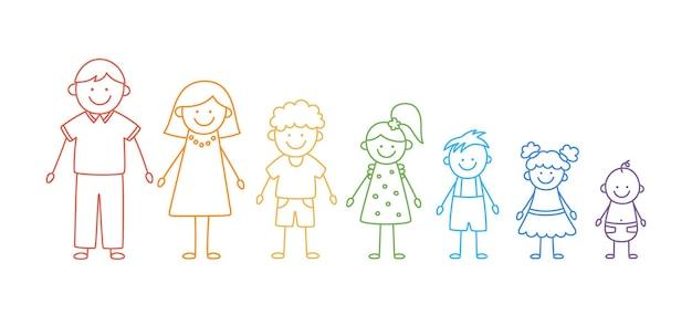 Happy doodle stick mans familie set hand getrokken figuur van familie in kleuren van de regenboog