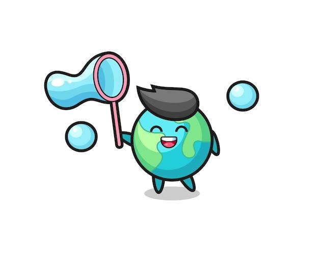 Happy earth-cartoon die zeepbel speelt, schattig stijlontwerp voor t-shirt, sticker, logo-element