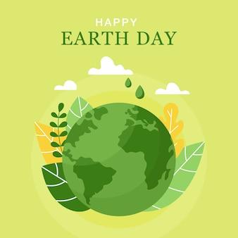 Happy earth day 22 april concept van de earth day planeetbladeren en wolken in vlakke stijl