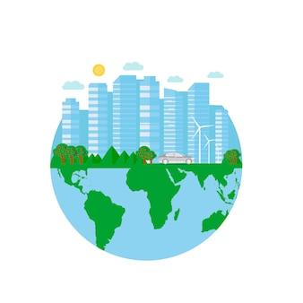 Happy earth day ansichtkaart met groene stad, auto, windturbine. eco vriendelijke ecologie concept. wereld milieu dag achtergrond. red de aarde.
