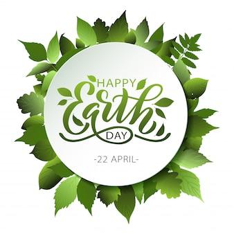 Happy earth day belettering met bladeren
