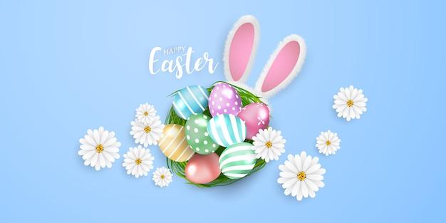 Happy easter achtergrond. konijn glans versierde eieren