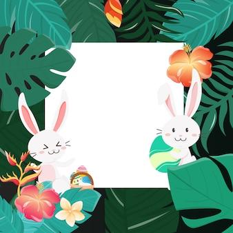 Happy easter bunny in het bos.
