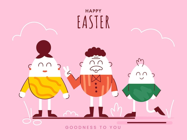 Happy easter celebration concept met ei familie stripfiguur op roze achtergrond.