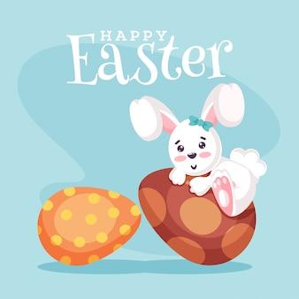 Happy easter concept met schattige bunny en eieren.