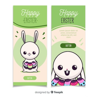 Happy easter dag platte banners