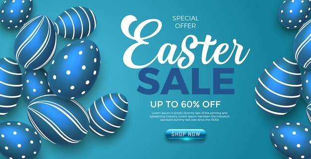 Happy easter day blauwe eieren met verkoop aanbieding banner