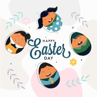 Happy easter day lettertype met cartoon jongens en meisjes gezicht op witte achtergrond.