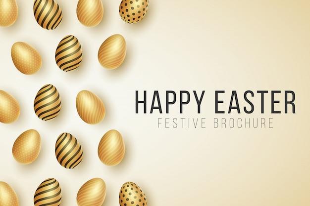 Happy easter-dekking. verspreide glanzende gouden eieren met een patroon op een lichte achtergrond.