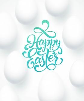 Happy easter egg belettering op de blauwe achtergrond met wit ei