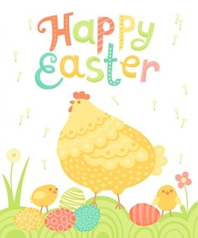 Happy easter feestelijke ansichtkaart met kip, kippen en beschilderde eieren op een weide.