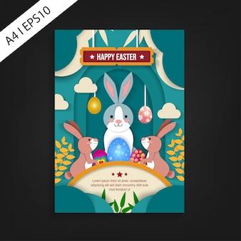 Happy easter flyer sjabloon met papier gesneden ontwerp