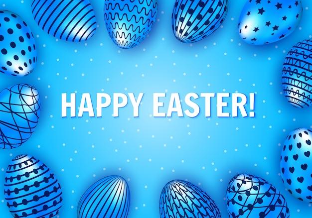 Happy easter groet met blauw versierde eieren.