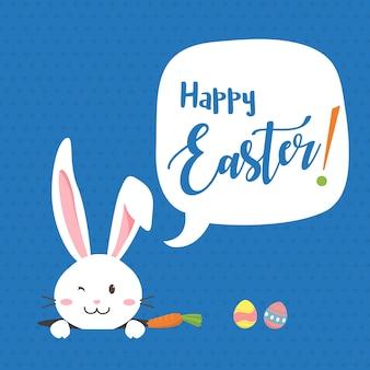 Happy easter-konijntje met wortel, wit konijntje