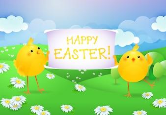 Happy Easter letters op banner gehouden door twee kuikens