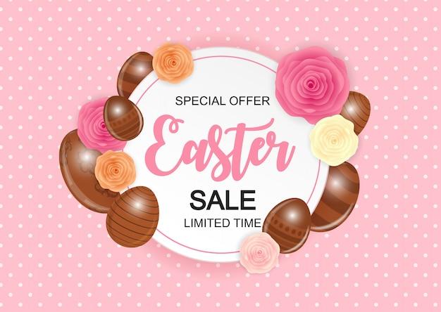 Happy easter leuke verkoop banner met eieren.