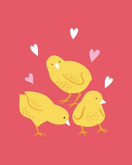 Happy easter poster, print, wenskaart of banner met schattige kip en harten. vector hand getekende illustratie.