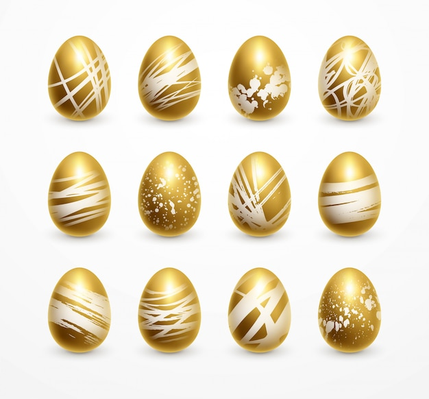Happy easter realistische gouden glans ingericht eieren set.