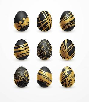Happy easter realistische zwarte en gouden glans ingericht eieren set.