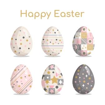 Happy easter set paaseieren met schattige patronen, texturen en feestelijke decoraties