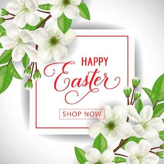 Happy easter shop nu belettering in kader. pasen-verkoopuitnodiging met de lentetakjes.