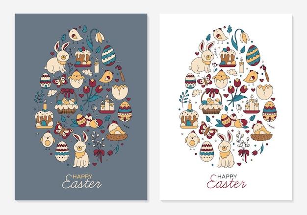 Happy easter sjablonen voor wenskaarten in de vorm van een ei