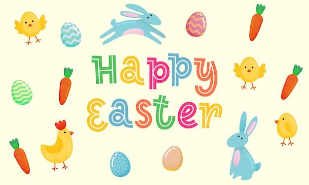 Happy easter vector schattig banner met gekleurde sierlijke eieren