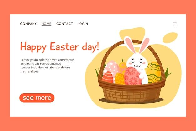 Happy easter-websitesjabloon, webpagina en bestemmingspagina-ontwerp. konijn in een mand met paaseieren.