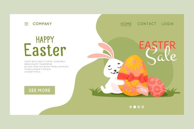 Happy easter-websitesjabloon, webpagina en bestemmingspagina-ontwerp.