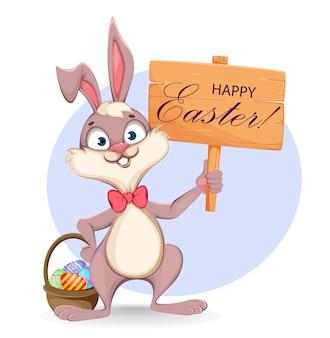Happy easter wenskaart. cartoon konijn