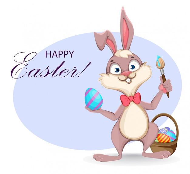Happy easter wenskaart. grappige cartoon konijn