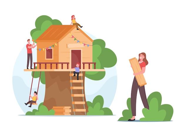 Happy family treehouse bouwen allemaal samen. moeder, vader en vrolijke kinderen-personages maken een houten huis in een boom