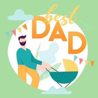 Happy father day concept kaart met lachende papa karakter met baby in kinderwagen. vector moderne trendy illustratie voor dekking, vakantiebanner, verkoopachtergrond
