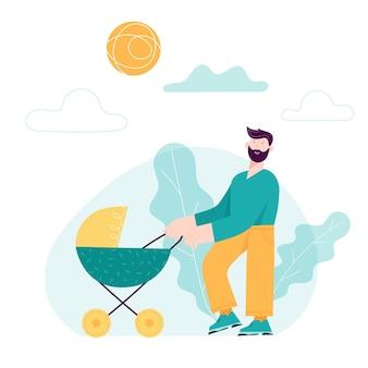 Happy father day concept kaart met lachende vader karakter en kind in kinderwagen. vector moderne trendy illustratie
