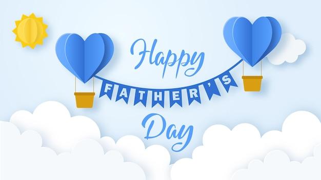 Happy father's day achtergrond met vliegende origami harten vorm lucht ballonnen over wolken. ontwerp voor wenskaart, spandoek, poster of flyer. papierkunst, digitaal handwerk en snijstijl. vector illustratie.