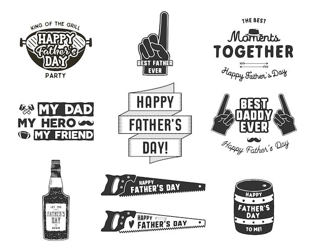 Happy father's day badges en design elements collection vintage stijl vaderdag labels. monochroom typografiestijl. beste voor partij wenskaarten, t-shirt, mok, spandoek, poster vectorillustratie. Premium Vector