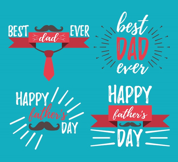 Happy father's day belettering set