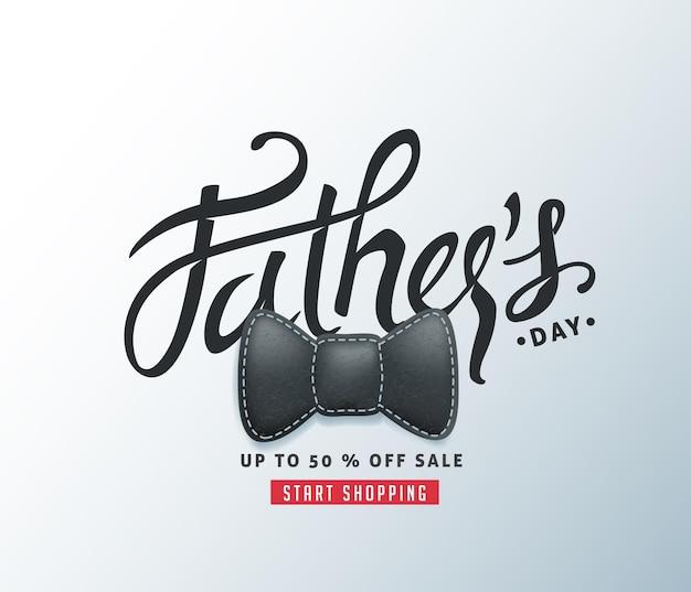 Happy father's day calligraphy groet en verkoop banner