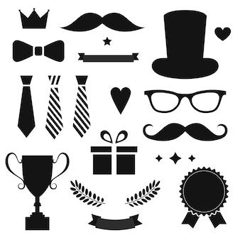 Happy father's day etiketten instellen. vlakke stijl vector logo en emblemen voor wenskaart, kapperszaak, t-shirt design.