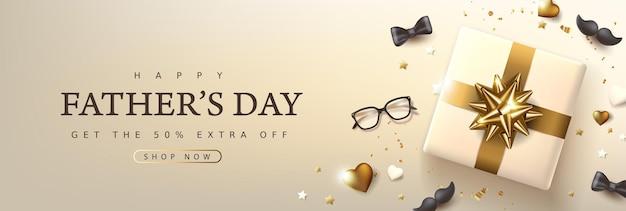 Happy father's day-kaart met luxe gouden feestelijke decoratie achtergrond