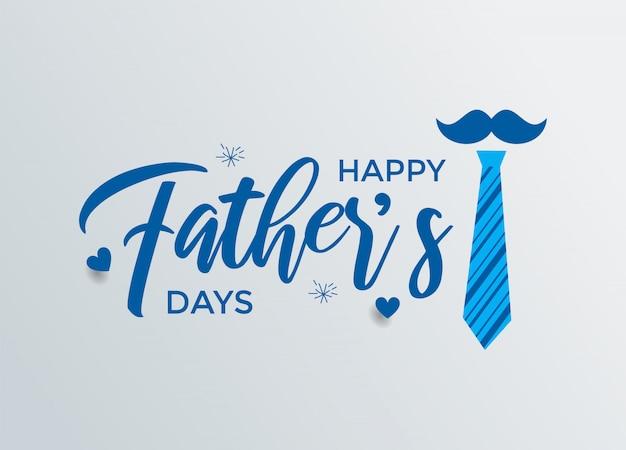 Happy father's day kalligrafie wenskaart met blauwe kleur