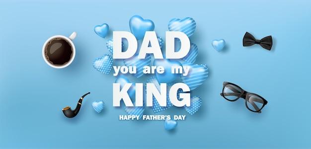 Happy father's day-wenskaart, poster of banner met pictogramdecoratie.